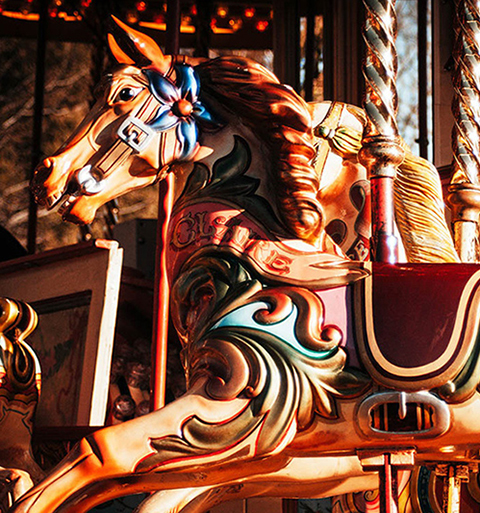 vintage fufair carousel close up of horse