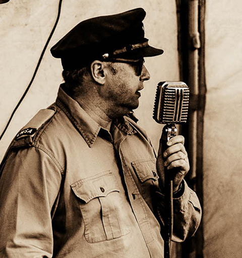 American soldier singing during re-enactment